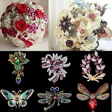 DIY Wedding Bride Bouquet Butterfly Dragonfly Flower Crystal Brooch Pin Jewelry
