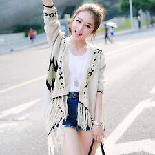 Fashion Womens Tassel Knitting Cardigan Coat Floral Print Round Collar Sweater Q