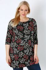 Yoursclothing Plus Size Womens Ladies Ditsy Floral Print Jersey Longline Top