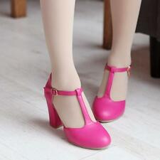 Women T-Strap Mary Jane Ankle Buckle Strap Chunky Heel Pump Office Shoes Plus SZ
