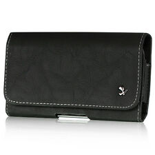 Holster Pouch Clip Case For Phones Black Heavy Duty Luxury Leather Belt Clip