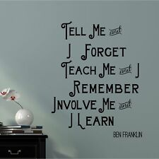 'Tell Me Teach Me' Vinyl Words Lettering Inspirational Home Wall Decal
