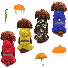 Pet Dog Puppy Cat Rain Coat Raincoat Waterproof Jacket Rainwear Hood Reflective