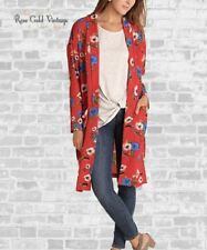 NWT Boutique Umgee Long Floral Cardigan Kimono w/ Pockets - Red - S, M & L