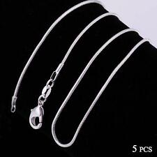 Fashion 5pcs 925 Sterling Solid Silver Necklace 1mm Snake Chain 16-30inch KJ
