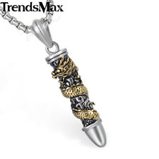 Dragon Bullet Pendant Necklace Mens Chain Gold Silver 316L Stainless Steel