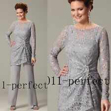 New Arrival Pants Suits Mother Of Bride Dress Gray Chiffon Lace Plus size 22 24