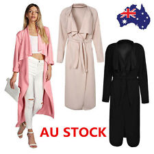 Lady Italian Waterfall Celeb Belted Coat Long Sleeve Cape Cardigan Trench Jacket