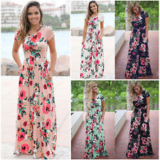 Womens Floral Print Short Sleeve Boho Dress Evening Party Casual Long Maxi Dress