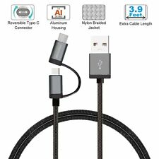 1.2M Micro USB Cable w/USB C Reversible Connector For Samsung S8 Gopro Hero 5 US