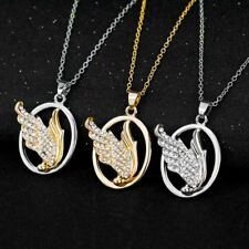 Fashion Crystal Gold/Silver Angel Wing Charm Pendant Chain Necklace Women Lady