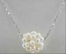 Pretty New 18-20mm Genuine Natural White Freshwater Pearl Ball Pendant Necklace