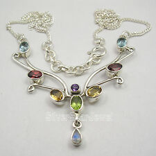 925 SOLID Silver Chain Necklace ! Natural MULTISTONE, PERIDOT Gemstone Variation