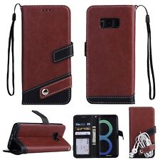 Luxury Leather Flip Stand Wallet Case With Hand Strap Cover For iPhone Samsung C