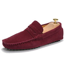 Mens Classic Driving Loafers Suede Leather Moccasins Slip On Flats Penny Shoes
