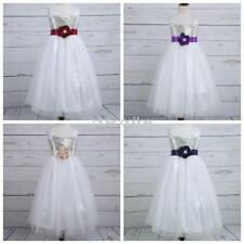 New Kids Girl Sequins Bow Tulle Party Flower Princess Prom Pageant Wedding Dress