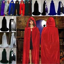 Hooded Velvet Cloak Cape Halloween Costume Medieval Pagan Witch Wicca Vampire