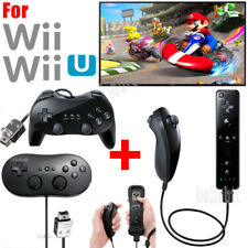 For Nintendo Wii U Wii Remote Controller Nunchuck Classic Controller Pro Black