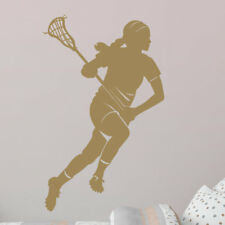 Wallums Wall Decor Female Lacrosse Player Silhouette Wall Decal
