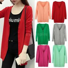 New Women Long Sleeve Button Front Cardigan Sweater V Neck Knitted Coat A0S3