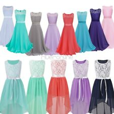 Kid Girl Chiffon Bowknot Bridesmaid Ball Gown Wedding Party Pageant Prom Dress
