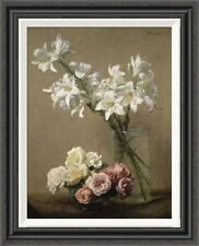 Global Gallery 'Lilies in a Vase' by Henri Fantin-Latour Framed Painting Print