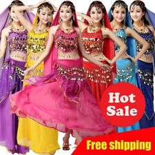 Belly Dance Costume Set Shiny Sequin Top Hip Scarf Skirt Bollywood Carnival Wear