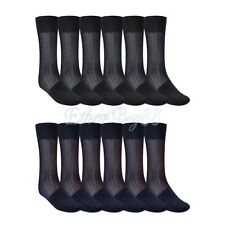 3 Pairs Men Lined Pattern Thin Breathable Mid-Calf Sheer Silk Formal Dress Socks