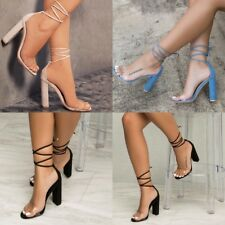 Women Block Heel Sandals Open Toe Back Strappy Sandals Tie Up Lace Party Shoes