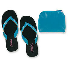 Sidekicks Foldable Flip Flops with Carrying Case, Womens, Patent, Turquoise