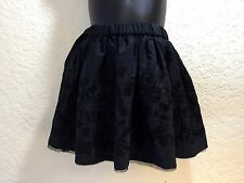 Lands' End Girls  Black Taffeta Embroidered Skirt with Tulle Dressy Holiday