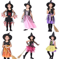 Girls Witch School Costume + Hat Halloween Witches Fancy Dress Outfit Party