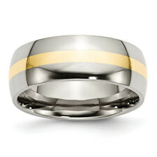 Stainless Steel and 14k Yellow Inlay 8mm Polished Band SR2