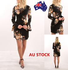 Women Floral Long Sleeve Dress Zipper Bodycon Evening Cocktail Party Mini Dress