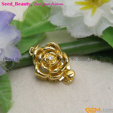 Pretty Yellow Gold Plated Crystal Inlayed Flower Clasp 11mmx16mm