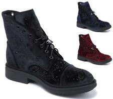 WOMENS LADIES DIAMANTE VELVET CASUAL LACE UP SKULL FASHION ANKLE BOOTS SHOES