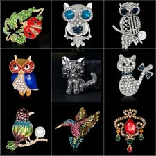 New Owl Cat Flower Animal Rhinestone Large Insect Brooch Pin Jewelry Party Gift