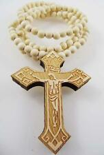 """1x New Hip Hop Cross Pendant Beaded Chain Wood Beads Rosary Necklace 36"""" Gift"""
