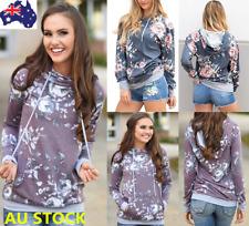 Women's Long Sleeve Hoodie Pullover Sweatshirt Floral Casual Hooded Jumper Coat