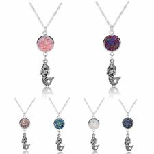 Fashion Mermaid Pendant Necklace Jewelry Women Colorful Round Birthday Gift New