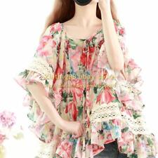 Womens Flared Lantern Sleeve Cotton Linen Embroidery Floral Top Blouse Shirt New