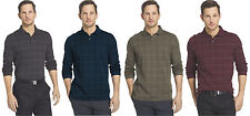 New Mens Van Heusen Jaspe Windowpane Long Sleeve Polo Shirt Retail $54