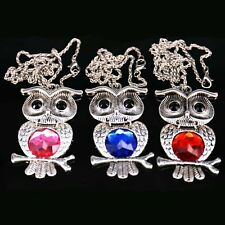 Owl Night Owl Pendant Long Necklace Clear Rhinestone Charm Metal Chain Jewelry