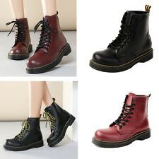 New Ladies Lace up Martin Womens Flats Combat Punk Leather Ankle Boots Shoes