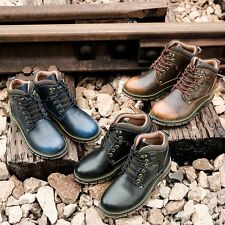 Fashion Leather Round Toe Lace Up Ankle Boots Work Boots Mens High Top Shoes New