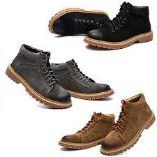 Fashion Suede Round Toe Lace Up Ankle Boots Mens Casual High Top Shoes Size New