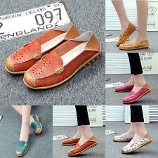 Women Casual Oxfords Leather Shoes Floral Flat Hollow Pea Shoes Loafers Moccasin