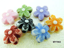 10mm 60pcs FROSTED ASSORTED COLORS ACRYLIC FLOWER BEADS MY7063