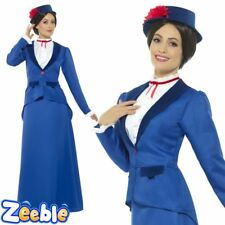 Womens Victorian Nanny Costume Adults Fancy Dress Mary Book Week Day Teacher