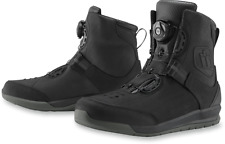 Mens Icon Black Mid Calf Leather Patrol 2 Motorcycle Riding Street Racing Boots